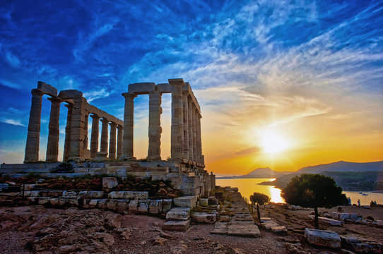 The Temple of Poseidon at Sounion, Greece, near Athens