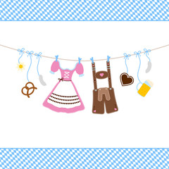 Octoberfest Symbols Hanging & Pattern Background