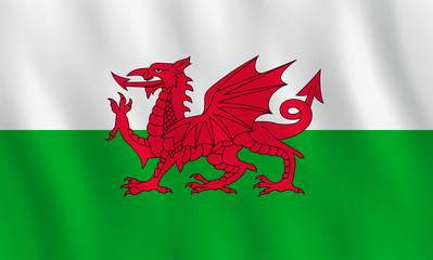 Wales flag with waving effect, official proportion.