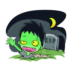 scary, undead, dead, fantasy, hand, night, horror, spooky, halloween, evil, zombie, cartoon, death, monster, dark, devil, ghost, moon, character, scare, illustration, funny, graphic, man