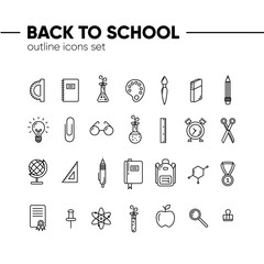 Back to school icons outline set, icons of school supplies. Welcome back to school badge.