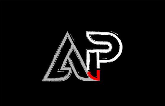 grunge white red black alphabet letter ap a p logo design