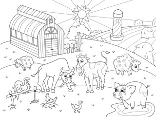 Farm animals and rural landscape coloring raster for adults