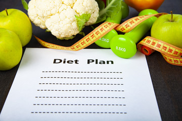 Food and sheet of paper with a diet plan