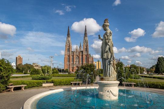 La Plata Cathedral and Plaza Moreno Fountain - La Plata, Buenos Aires Province, Argentina