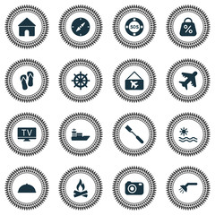 Journey icons set with camera, sea, picture airplane and other home