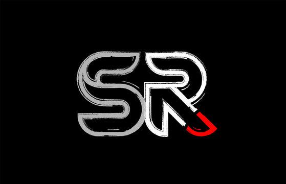 grunge white red black alphabet letter sr s r logo design