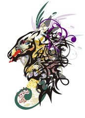 Monster horse head. Splattered horse head mascot created by the head of a dragon with an aggressive lioness head inside and the colorful twirled floral splashes