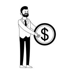 Businessman with gear symbol vector illustration graphic design