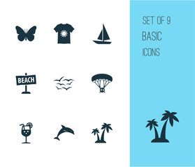 Sun icons set with gulls, palms, fresh juice and other monarch