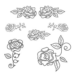 Set of beautiful roses line art. luxury fashion - vector illustration