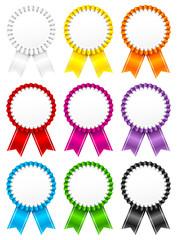 9 Award Badges Ribbon Small Stripes