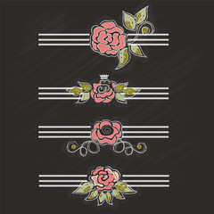 Set of beautiful roses, retro style, chalk - vector illustration