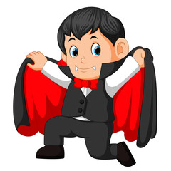 Funny cartoon little vampire