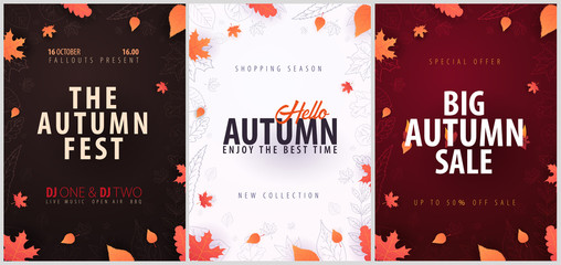 Set of Autumn Backgrounds with leaves for shopping sale, promo poster and frame leaflet, web banner. Vector illustration template.