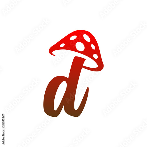 D Letter Lowercase Mushroom Logo Icon Vector Stock Image And
