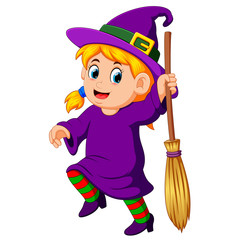 girl witch with a broom