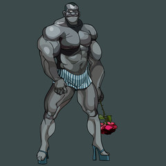 cartoon man bodybuilder standing on heels with a rose in his hand