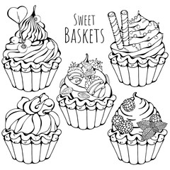 Group of vector illustrations on the sweets theme; set of different kinds of sweet baskets with cream decorated with berries, chocolate or nuts. Pictures are depicted as black sketches.