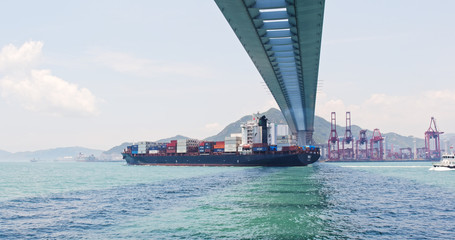 Container terminal port Stonecutters Bridge in Hong Kong