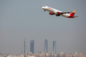 An Iberia Express Airbus A321 airplane takes off from the Adolfo Suarez Madrid-Barajas airport