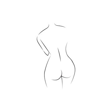sexy lline art of back lady