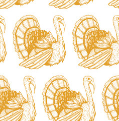 Seamless texture with with turkey. Repeating background. Tile pattern. Good for the cards to Thanksgiving day.
