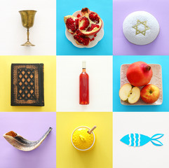 Rosh hashanah (jewish New Year holiday) collage concept. Traditional symbols.