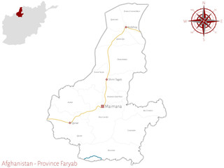 Large and detailed map of the afghan province of Faryab.