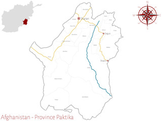 Large and detailed map of the afghan province of Paktika.