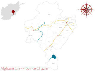Large and detailed map of the afghan province of Ghazni.