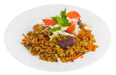 Pilaf in plate