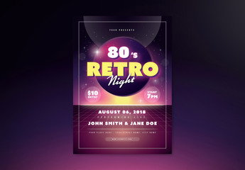 Dark Purple Retro Event Flyer Layout