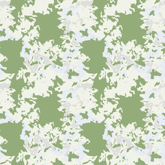 UFO military camouflage seamless pattern in green, grey and beige colors