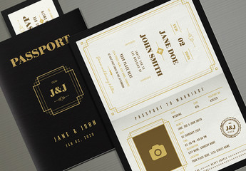 Art Deco Passport Wedding Invitation Layout