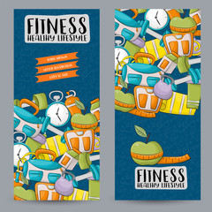 Fitness and healthy lifestyle. Vertical banner template set.  Modern hand drawn doodle design. Vector illustrator.