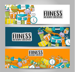 Fitness and healthy lifestyle. Horizontal banner template set.  Modern hand drawn doodle design. Vector illustrator.