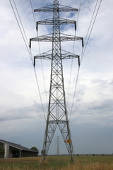 Electricy lines with towers to carry in Overijssel, The Netherlands.
