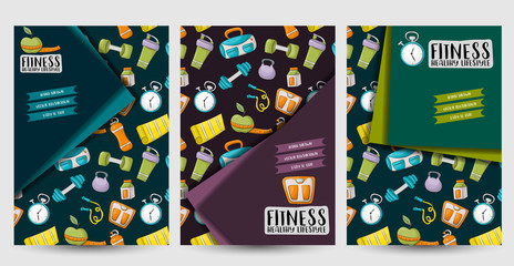 Fitness and healthy lifestyle corporate identity design set. Flyer and brochure template. Vector illustrator.