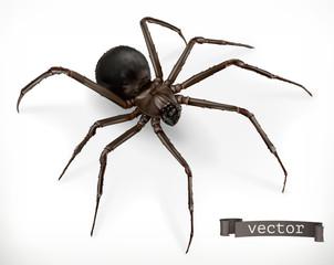 Realistic spider. Halloween 3d vector icon