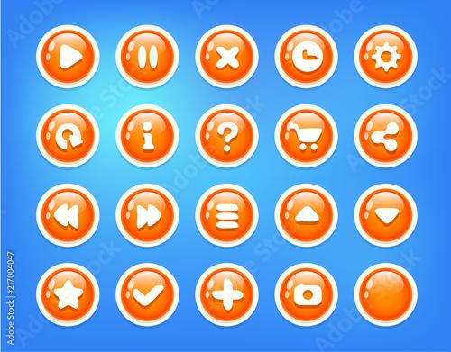 Blue Orange Buttons Game Ui kit