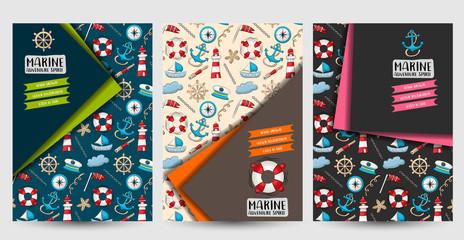 Marine nautical travel set of flyers. Printable brochure template. Vector illustrator.