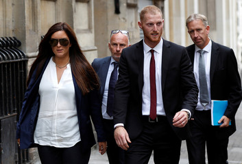 England cricket player Ben Stokes and his wife Clare Ratcliffe leave Bristol Crown Court, in Bristol
