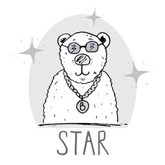 Cute Bear hand drawn sketch, T-shirt print design for kids vector iillustration