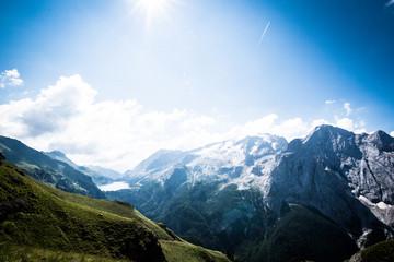 Marmolada glacier, Val di Fassa Valley and Fedaia Lake