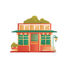 Public municipal city building, front view vector Illustration on a white background