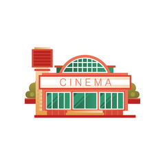 Cinema building, front view vector Illustration on a white background