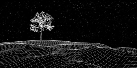 Abstract landscape background. Cyberspace landscape grid and tree. Technology concept.
