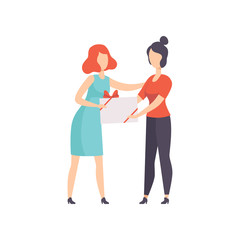Young woman giving gift box decorated with red ribbon bow to her female friend, people celebrating holidays concept, congratulations to a friend vector Illustration on a white background