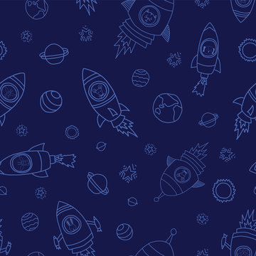 Space animals on blue seamless vector background. Rocket ships. Astronaut mouse, cat, giraffe, dog, lion in rocket ships. Space themed kids pattern. Great for children, paper, fabric, back to school